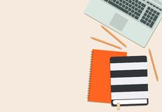 Laptop, book, diary and pencil flat lay stock illustration
