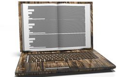 Laptop in book form. Internet library. Changing sources Royalty Free Stock Images