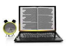 Laptop in book form. Internet library. Changing sources Stock Photos