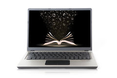 Laptop with book wallpaper isolated on white Royalty Free Stock Photos