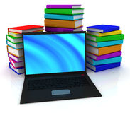 Laptop and books. 3D render Stock Photography