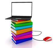 Laptop and books. 3D render Stock Image