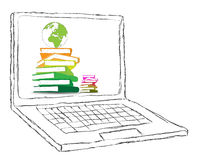 Laptop with books and blank display Stock Images
