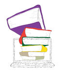 Laptop with books and blank display Stock Photo