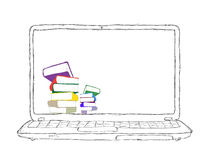 Laptop with books and blank display Stock Photography