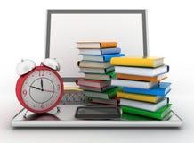 Laptop, books and clock. 3d illustration on white Stock Image