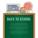 Laptop, Books And Desk Globe Back To School Concept Royalty Free Stock Images