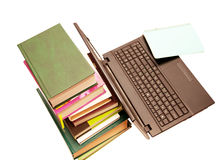 The laptop and books, encyclopedias Royalty Free Stock Images