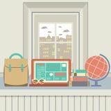 Laptop, Books, Eyeglasses And Desk Globe On Windowsill Stock Image