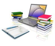 Laptop,  books and others tools Royalty Free Stock Images