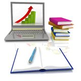 Laptop,  books and others tools Royalty Free Stock Photo