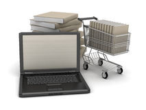 Laptop, books and shopping cart Stock Photography