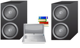 Laptop, Books and Speakers Stock Photos