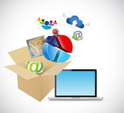 Laptop and box full of app and tools. Royalty Free Stock Image
