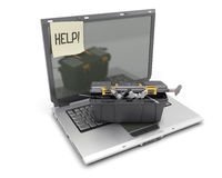 The laptop with box tools on a white Royalty Free Stock Images
