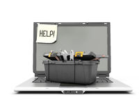 Laptop with box tools on a white Royalty Free Stock Photo