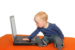Laptop-boy Stock Images