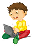 Laptop and boy Royalty Free Stock Image