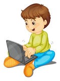 Laptop and boy. Illustration of a laptop and boy on a white background Royalty Free Stock Photos
