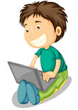 Laptop and boy Royalty Free Stock Images