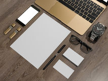 Laptop branding mockup smatrtfon, business cards. High resolution 3d Stock Photo