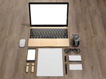Laptop branding mockup smatrtfon, business cards. High resolution 3d Royalty Free Stock Photography