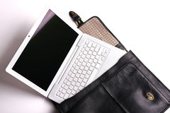 Laptop in brief-case. Royalty Free Stock Image