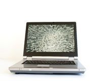 Laptop with broken screen monitor.  stock photo