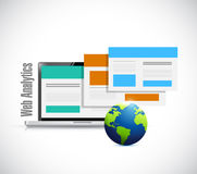 Laptop browser web analytics globe illustration stock illustration