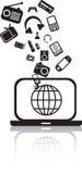 Laptop burst silhouette Royalty Free Stock Photos