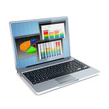 Laptop with business bar graph. 3d illustration of laptop with business bar graph Stock Photos