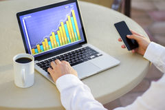 Laptop with business chart, cup of coffee and a man with smartph. One, close up Royalty Free Stock Images