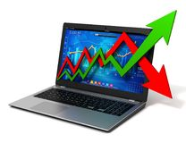 Laptop and business finance graph 3d illustration. Laptop and business finance graph chart 3d illustration Stock Photo