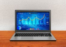 Laptop and business finance graph 3d illustration. Laptop and business finance graph chart 3d illustration Royalty Free Stock Photo
