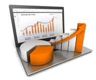 Laptop and business finance graph 3d illustration. Laptop and business finance graph chart 3d illustration Stock Images