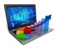 Laptop and business finance graph 3d illustration. Laptop and business finance graph chart 3d illustration Stock Image