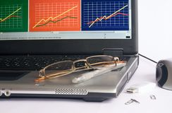 Laptop business and glasse and pens Royalty Free Stock Photo