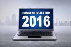 Laptop with business goals for 2016 Royalty Free Stock Photo