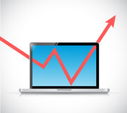 Laptop and business graph arrow illustration. Design over a white background Stock Photos
