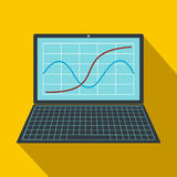 Laptop with business graph icon, flat style. Laptop with business graph icon in flat style on a yellow background Stock Photos