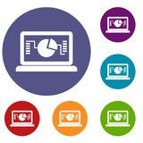 Laptop with business graph icons set. In flat circle reb, blue and green color for web Stock Photos