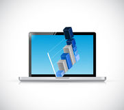 Laptop and business graph illustration design Royalty Free Stock Image