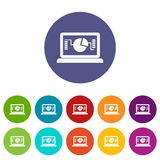 Laptop with business graph set icons. In different colors isolated on white background Stock Photo