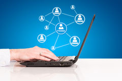 Laptop business man hand touch pad, technology social connection Stock Photo