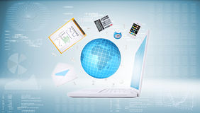Laptop and business objects Royalty Free Stock Photo