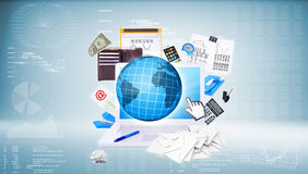 Laptop and business objects Royalty Free Stock Image