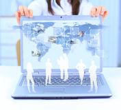 Laptop and business person Royalty Free Stock Image