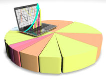 laptop with business or profits growth bar graph, 3d render Royalty Free Stock Photography