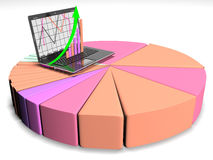 laptop with business or profits growth bar graph, 3d render Royalty Free Stock Photo