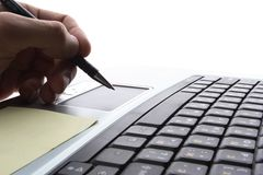 Laptop,  business technology. Pen, keyboard Royalty Free Stock Images